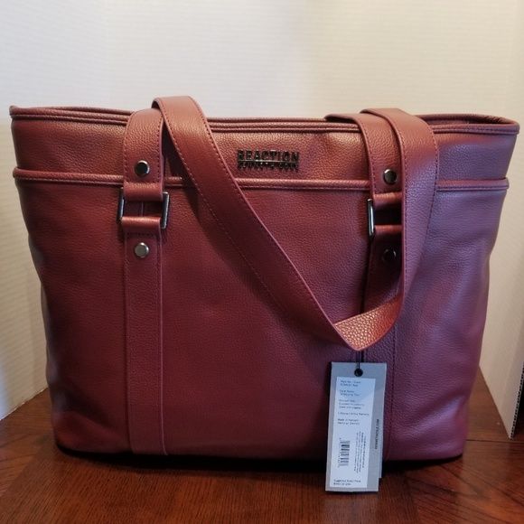 aacefa04d Kenneth Cole Reaction Bags | Kenneth Cole Red Leather Computer Tote ...
